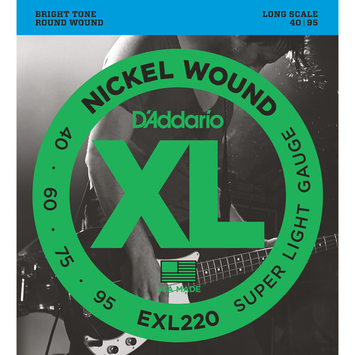 D'Addario EXL220 Super Light XL Nickel Wound Electric Bass Strings (4-String, Long Scale, 40 - 95)