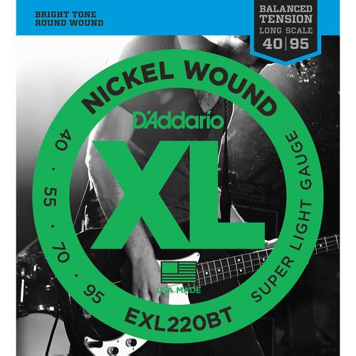 D'Addario EXL220BT Balanced Tension Super Light XL Nickel Wound Electric Bass Strings (4-String, Long Scale, 40 - 95)