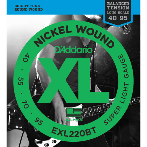 D'Addario EXL220BT Balanced Tension Super Light XL Nickel Wound Electric Bass Strings (4-String, Long Scale, 40 - 95)
