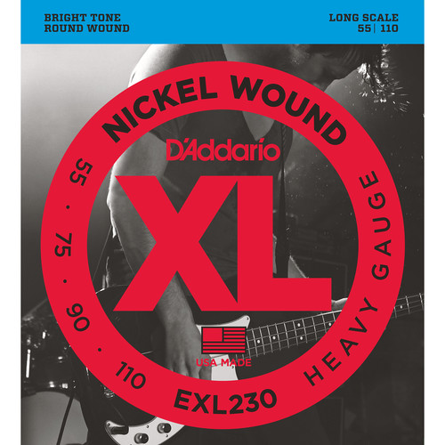 D'Addario EXL230 Heavy XL Nickel Wound Electric Bass Strings (4-String, Long Scale, 55 - 110)