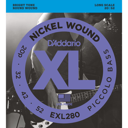 D'Addario EXL280 Piccolo Bass XL Nickel Wound Electric Bass Strings (4-String, Long Scale, 20 - 52)