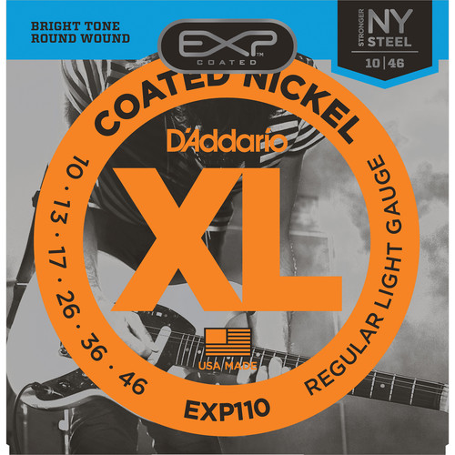 D'Addario EXP110 Light EXP Coated Nickel Wound Electric Guitar Strings (6-Strings, 10 - 46)