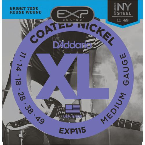 D'Addario EXP115 Medium/Blues/Jazz EXP Coated Nickel Wound Electric Guitar Strings (6-Strings, 11 - 49)