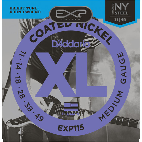 D'Addario EXP115 Medium/Blues/Jazz EXP Coated Nickel Wound Electric Guitar Strings (6-Strings, 11 - 49)