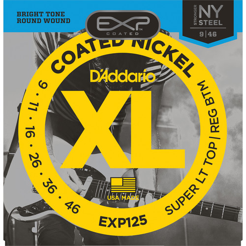 D'Addario EXP125 Super Light Top/Regular Bottom EXP Coated Nickel Wound Electric Guitar Strings (6-Strings, 9 - 46)