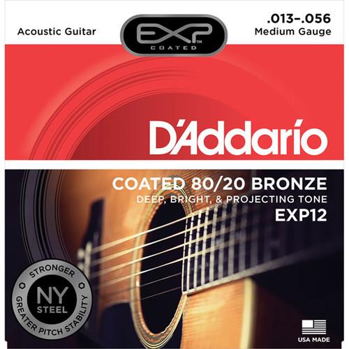 D'Addario EXP12 Medium Coated 80/20 Bronze Acoustic Guitar Strings (6-String Set, 13 - 56)