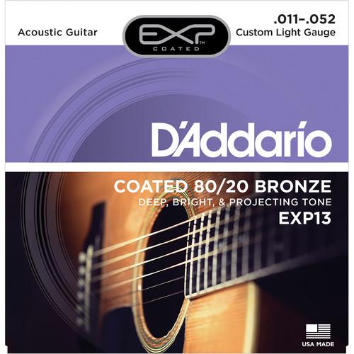 D'Addario EXP13 Custom Light Coated 80/20 Bronze Acoustic Guitar Strings (6-String Set, 11 - 52)