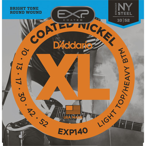 D'Addario EXP140 Light Top/Heavy Bottom EXP Coated Nickel Wound Electric Guitar Strings (6-Strings, 10 - 52)