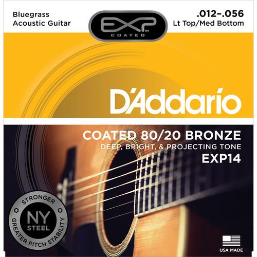 D'Addario EXP14 Light Top/Medium Bottom Bluegrass Coated 80/20 Bronze Acoustic Guitar Strings (6-String Set, 12 - 56)