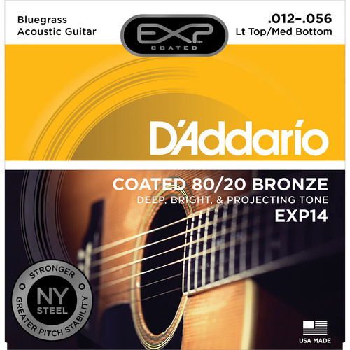 D'Addario EXP14 Light Top/Medium Bottom Bluegrass Coated 80/20 Bronze Acoustic Guitar Strings (6-String Set, 12 - 56)
