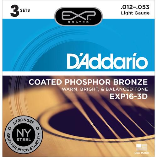 D'Addario EXP16 Light Coated Phosphor Bronze Acoustic Guitar Strings (6-String Set, 12 - 53, 3-Pack)