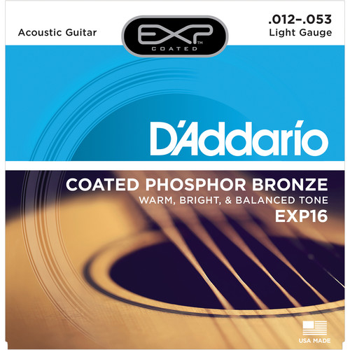 D'Addario EXP16 Light Coated Phosphor Bronze Acoustic Guitar Strings (6-String Set, 12 - 53)