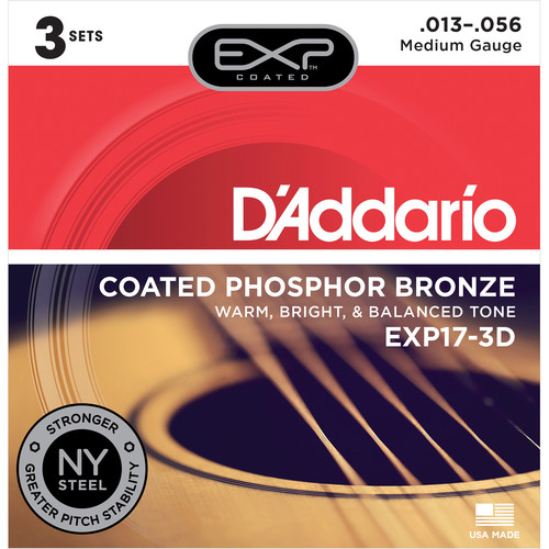 D'Addario EXP17 Medium Coated Phosphor Bronze Acoustic Guitar Strings (6-String Set, 13 - 56, 3-Pack)