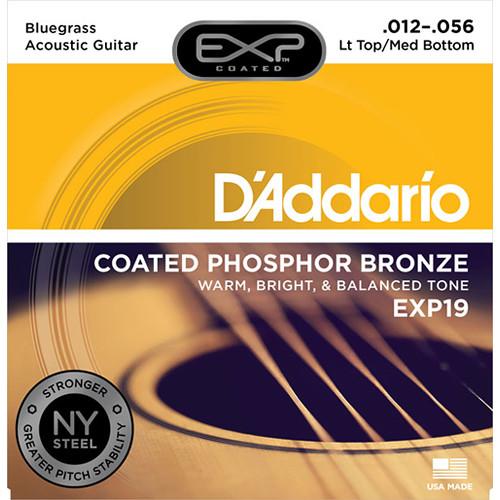 D'Addario EXP19 Light Top/Medium Bottom Bluegrass Coated Phosphor Bronze Acoustic Guitar Strings (6-String Set, 12 - 56)