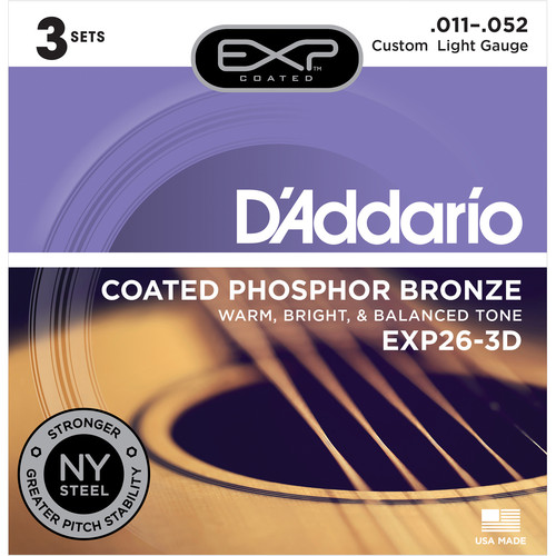 D'Addario EXP26 Custom Light Coated Phosphor Bronze Acoustic Guitar Strings (6-String Set, 11 - 52, 3-Pack)