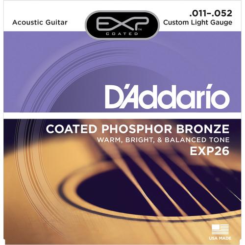 D'Addario EXP26 Custom Light Coated Phosphor Bronze Acoustic Guitar Strings (6-String Set, 11 - 52)