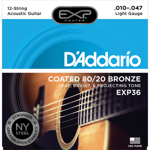 D'Addario EXP36 Light Coated 80/20 Bronze Acoustic Guitar Strings (12-String Set, 10 - 47)