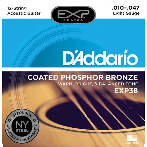 D'Addario EXP38 Light Coated Phosphor Bronze Acoustic Guitar Strings (12-String Set, 10 - 47)