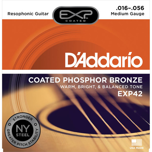 D'Addario EXP42 Medium Coated Phosphor Bronze Resophonic Guitar Strings (6-String Set, 16 - 56)