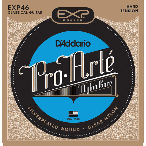 D'Addario EXP46 Hard Tension EXP Coated Pro-Arte Classical Guitar Strings (6-String Set, Clear Nylon, 28.5 - 46)