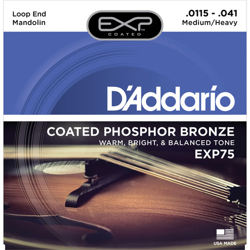 D'Addario EXP75 Medium/Heavy EXP Coated Phosphor Bronze Mandolin Strings (8-String Set, Loop End, 11.5 - 41)