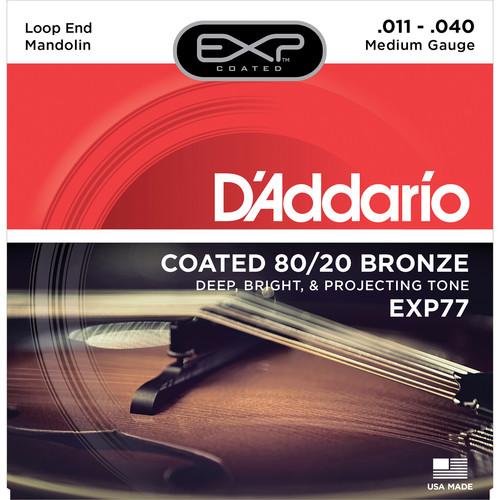 D'Addario EXP77 Medium EXP Coated 80/20 Bronze Mandolin Strings (8-String Set, Loop End, 11 - 40)