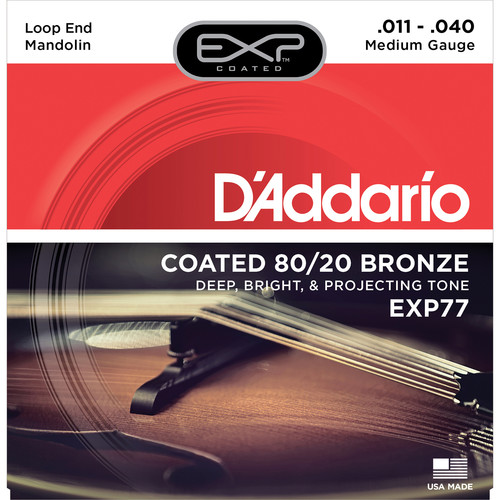 D'Addario EXP77 Medium EXP Coated 80/20 Bronze Mandolin Strings (8-String Set, Loop End, 11 - 40)