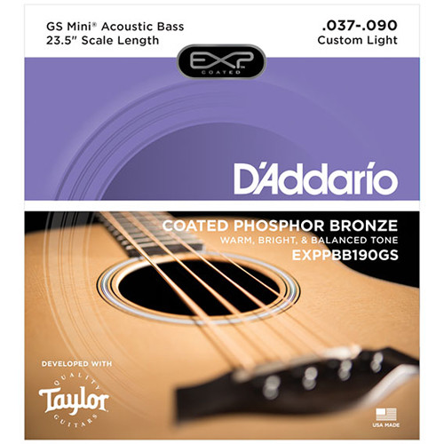 D'Addario EXPPBB190GS Coated Phosphor Bronze Acoustic Strings for Taylor GS Mini Bass (37-90)