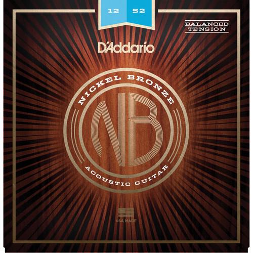 D'Addario NB1252BT Balanced Tension Light Nickel Bronze Acoustic Guitar Strings (6-String Set, 12-52)