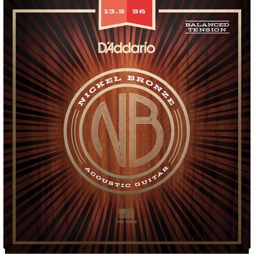 D'Addario NB13556BT Balanced Tension Medium Nickel Bronze Acoustic Guitar Strings (6-String Set, 13.5-56)