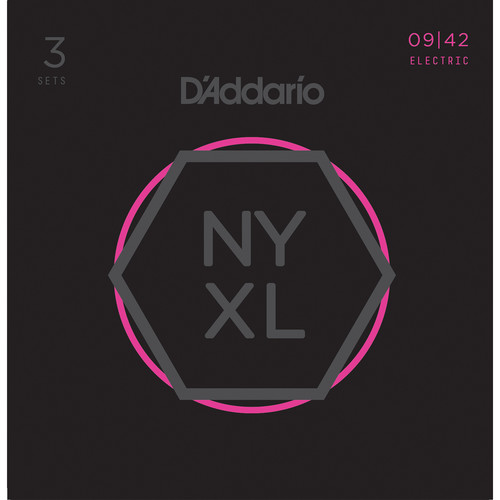 D'Addario NYXL0942-3P Super Light NYXL Nickel Wound Multi-Pack Electric Guitar Strings (6-String Set, 9 - 42, 3-Pack)
