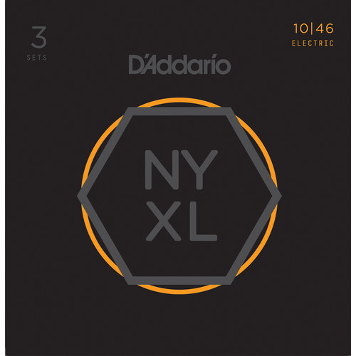 D'Addario NYXL1046-3P Regular Light NYXL Nickel Wound Multi-Pack Electric Guitar Strings (6-String Set, 10 - 46, 3-Pack)