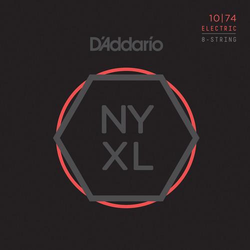 D'Addario NYXL1074 Light Top / Heavy Bottom NYXL Nickel Wound Electric Guitar Strings (8-String Set, 10 - 74)