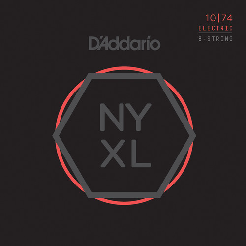 D'Addario NYXL1074 Light Top / Heavy Bottom NYXL Nickel Wound Electric Guitar Strings (8-String Set, 10 - 74)