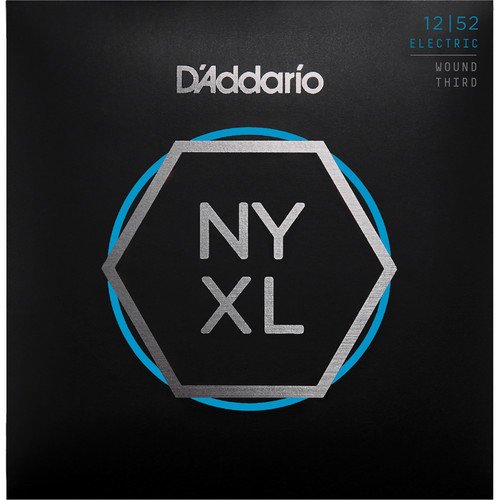 D'Addario NYXL1252W Light Wound 3rd NYXL Nickel Wound Electric Guitar Strings (6-String Set, 12 - 52)