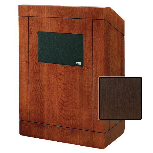 "Da-Lite Providence Tabletop Lectern with Premium Sound System (25"", Gunstock Walnut Laminate)"
