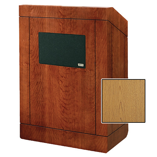"Da-Lite Providence Tabletop Lectern with Premium Sound System (25"", Light Oak Laminate)"