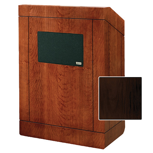 "Da-Lite Providence Tabletop Lectern with Premium Sound System (25"", Mahogany Laminate)"