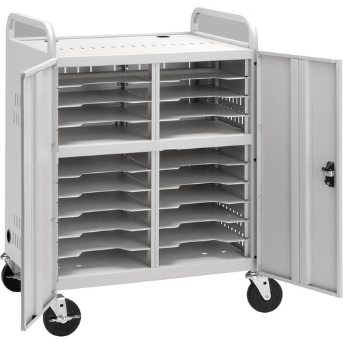 Da-Lite Laptop Storage Cart, Model CT-LS20 with Two 12-Outlet Power Strips (Dove Gray Powder Coat)