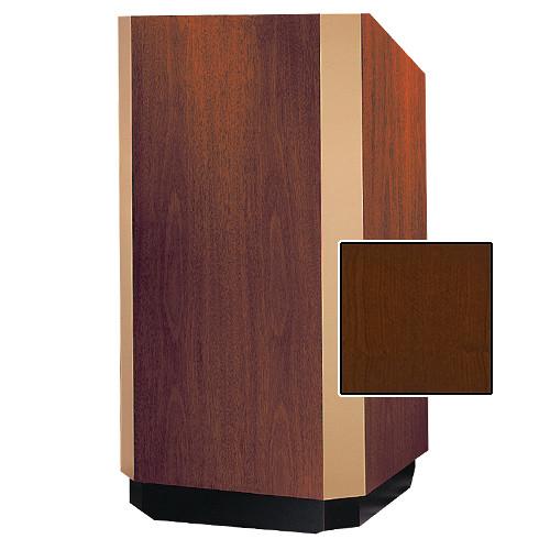 """Da-Lite 25"""" Yorkshire Floor Lectern with Sound System (Cherry Veneer, Brass Trim, 220 VAC)"""