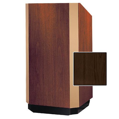 """Da-Lite 25"""" Yorkshire Floor Lectern with Sound System (Heritage Walnut Veneer, Brass Trim, 220 VAC)"""