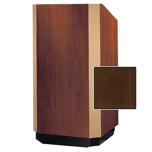 """Da-Lite 25"""" Yorkshire Floor Lectern with Sound System (Natural Walnut Veneer, Bronze Trim, 220 VAC)"""