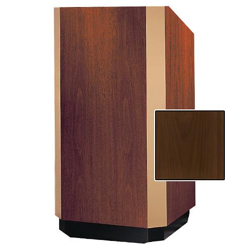 "Da-Lite Yorkshire 25"" Floor Lectern with Height Adjustment (Natural Walnut Veneer Finish, Brass Trim, 220V)"