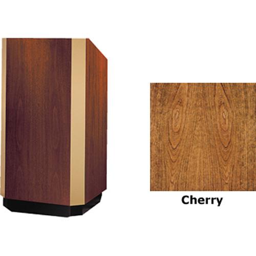 """Da-Lite Yorkshire 25"""" Height Adjustable Floor Lectern with Gooseneck Microphone (Cherry Veneer, Bronze Trim)"""