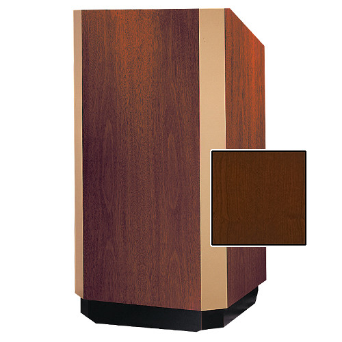 "Da-Lite Yorkshire 25"" Floor Lectern with Height Adjustment and Sound System (Cherry Veneer Finish, Brass Trim, 220V)"