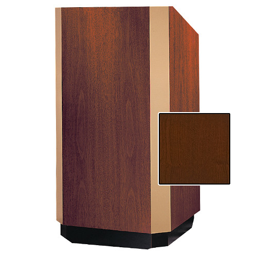 "Da-Lite Yorkshire 25"" Floor Lectern with Height Adjustment and Sound System (Cherry Veneer Finish, Bronze Trim, 220V)"