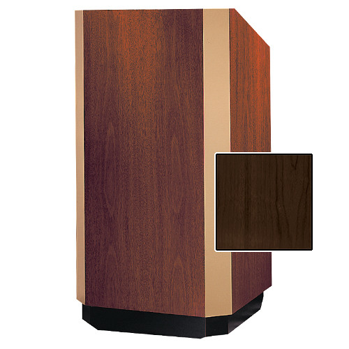 "Da-Lite Yorkshire 25"" Floor Lectern with Height Adjustment and Sound System (Heritage Walnut Veneer Finish, Brass Trim, 220V)"
