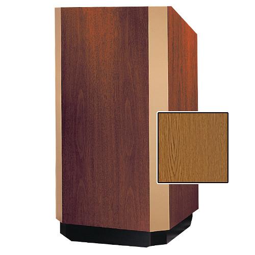 "Da-Lite Yorkshire 25"" Floor Lectern with Height Adjustment and Sound System (Medium Oak Veneer Finish, Brass Trim, 220V)"