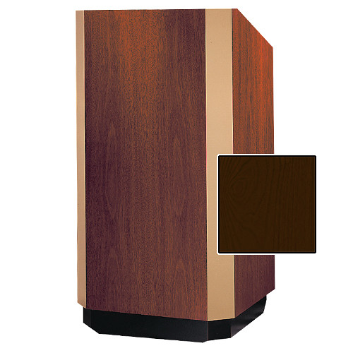"Da-Lite Yorkshire 25"" Floor Lectern with Height Adjustment and Sound System (Mahogany Veneer Finish, Brass Trim, 220V)"
