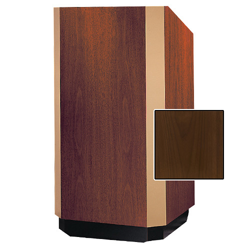 "Da-Lite Yorkshire 25"" Floor Lectern with Height Adjustment and Sound System (Natural Walnut Veneer Finish, Brass Trim, 220V)"